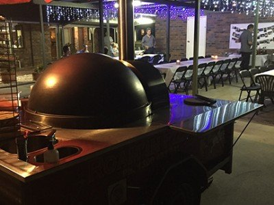 Roam'in Pizza Wood Fired Oven at corporate catering event